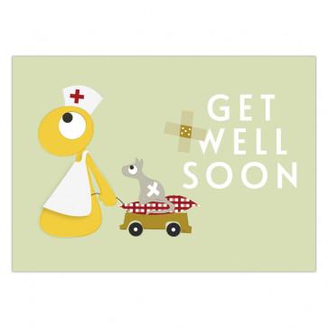 Olli+Jeujeu   Ansichtkaart   Get well soon