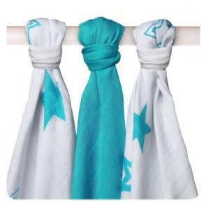 XKKO | Hydrofieldoek | Ster Turquoise | 70x70 | Set van 3